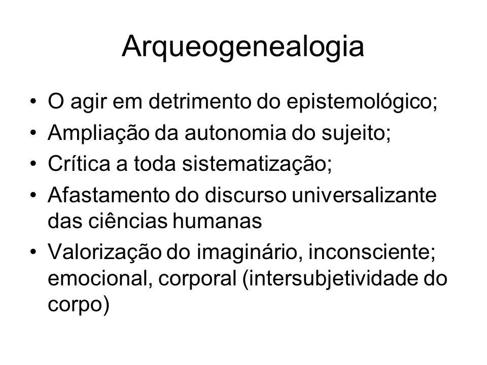 Arqueogenealogia O agir em detrimento do epistemológico; Ampliação da autonomia do sujeito; Crítica a toda sistematização; Afastamento do discurso uni