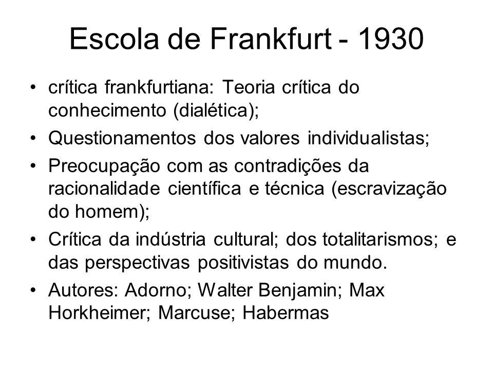 Escola de Frankfurt - 1930 crítica frankfurtiana: Teoria crítica do conhecimento (dialética); Questionamentos dos valores individualistas; Preocupação