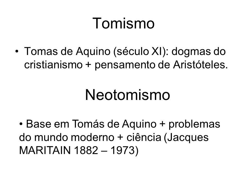 Tomismo Tomas de Aquino (século XI): dogmas do cristianismo + pensamento de Aristóteles. Neotomismo Base em Tomás de Aquino + problemas do mundo moder