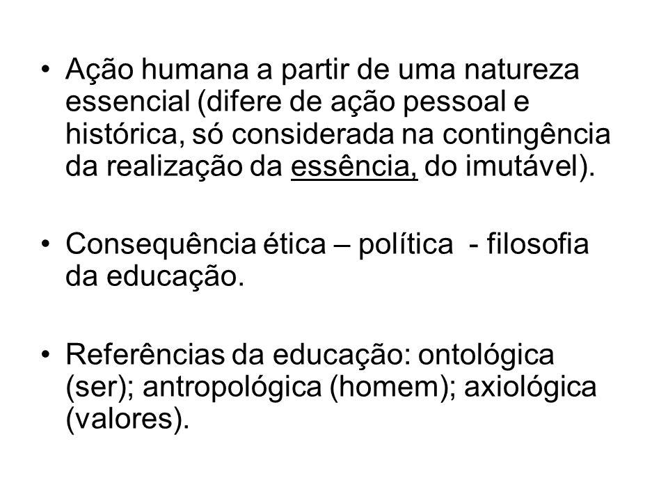 Ação humana a partir de uma natureza essencial (difere de ação pessoal e histórica, só considerada na contingência da realização da essência, do imutá