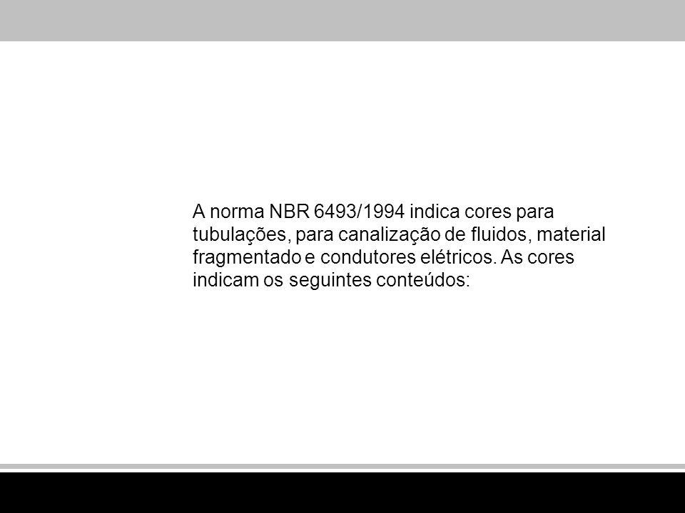 A norma NBR 6493/1994 indica cores para tubulações, para canalização de fluidos, material fragmentado e condutores elétricos. As cores indicam os segu