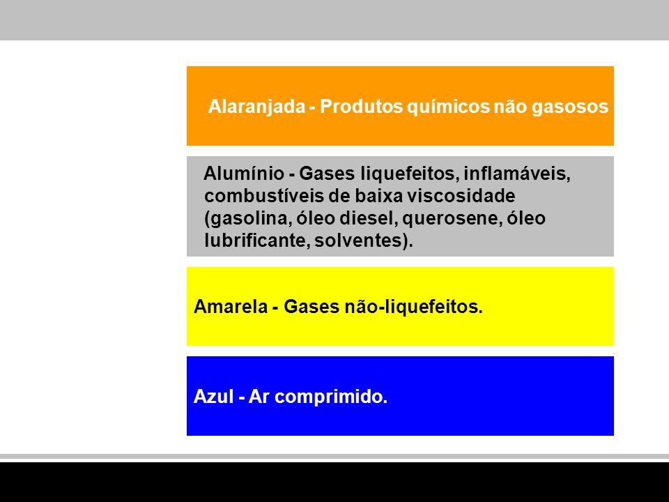 Alumínio - Gases liquefeitos, inflamáveis, combustíveis de baixa viscosidade (gasolina, óleo diesel, querosene, óleo lubrificante, solventes). Alaranj