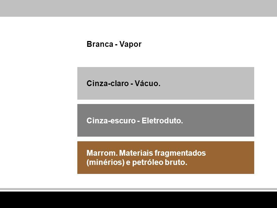 Branca - Vapor Cinza-claro - Vácuo. Cinza-escuro - Eletroduto. Marrom. Materiais fragmentados (minérios) e petróleo bruto.