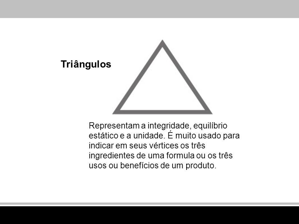 Triângulos Representam a integridade, equilíbrio estático e a unidade. É muito usado para indicar em seus vértices os três ingredientes de uma formula