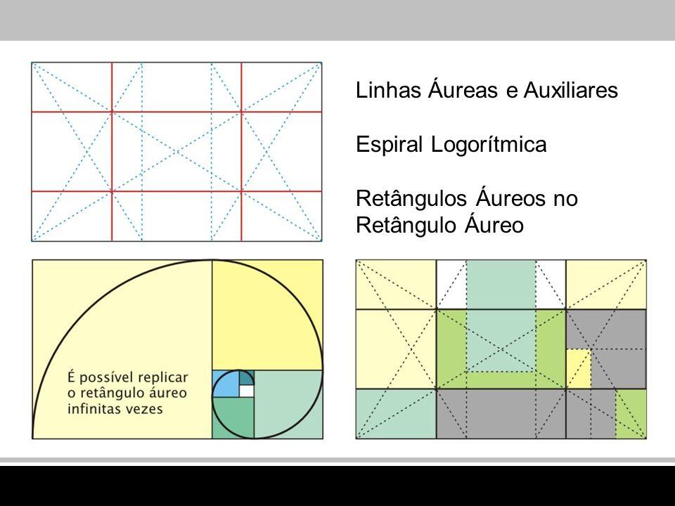 Linhas Áureas e Auxiliares Espiral Logorítmica Retângulos Áureos no Retângulo Áureo