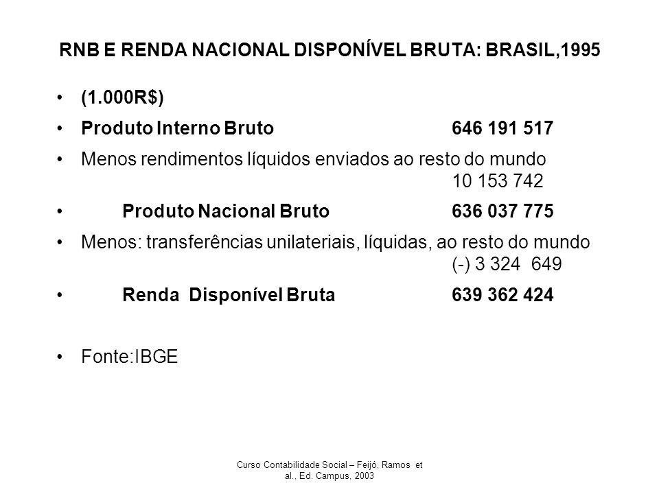Curso Contabilidade Social – Feijó, Ramos et al., Ed. Campus, 2003 RNB E RENDA NACIONAL DISPONÍVEL BRUTA: BRASIL,1995 (1.000R$) Produto Interno Bruto6