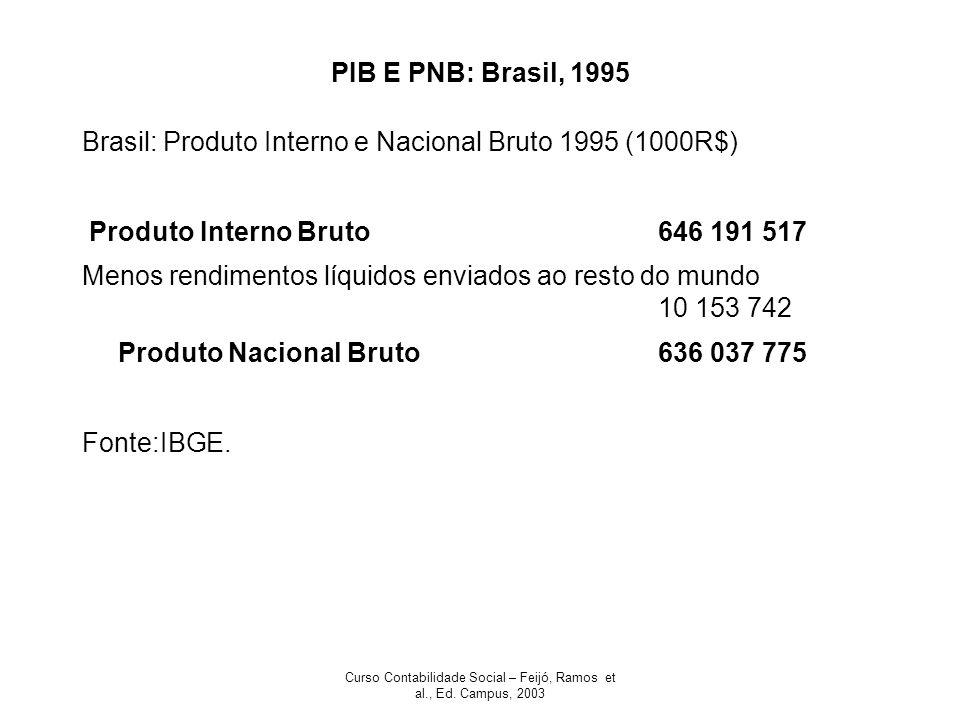 Curso Contabilidade Social – Feijó, Ramos et al., Ed. Campus, 2003 PIB E PNB: Brasil, 1995 Brasil: Produto Interno e Nacional Bruto 1995 (1000R$) Prod