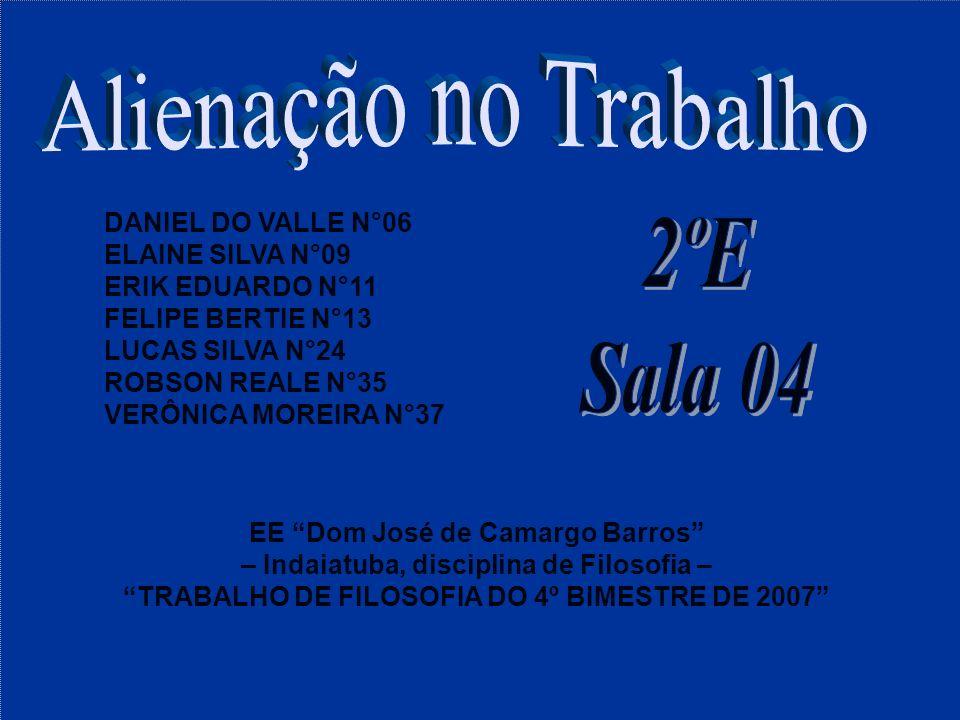 DANIEL DO VALLE N°06 ELAINE SILVA N°09 ERIK EDUARDO N°11 FELIPE BERTIE N°13 LUCAS SILVA N°24 ROBSON REALE N°35 VERÔNICA MOREIRA N°37 EE Dom José de Ca