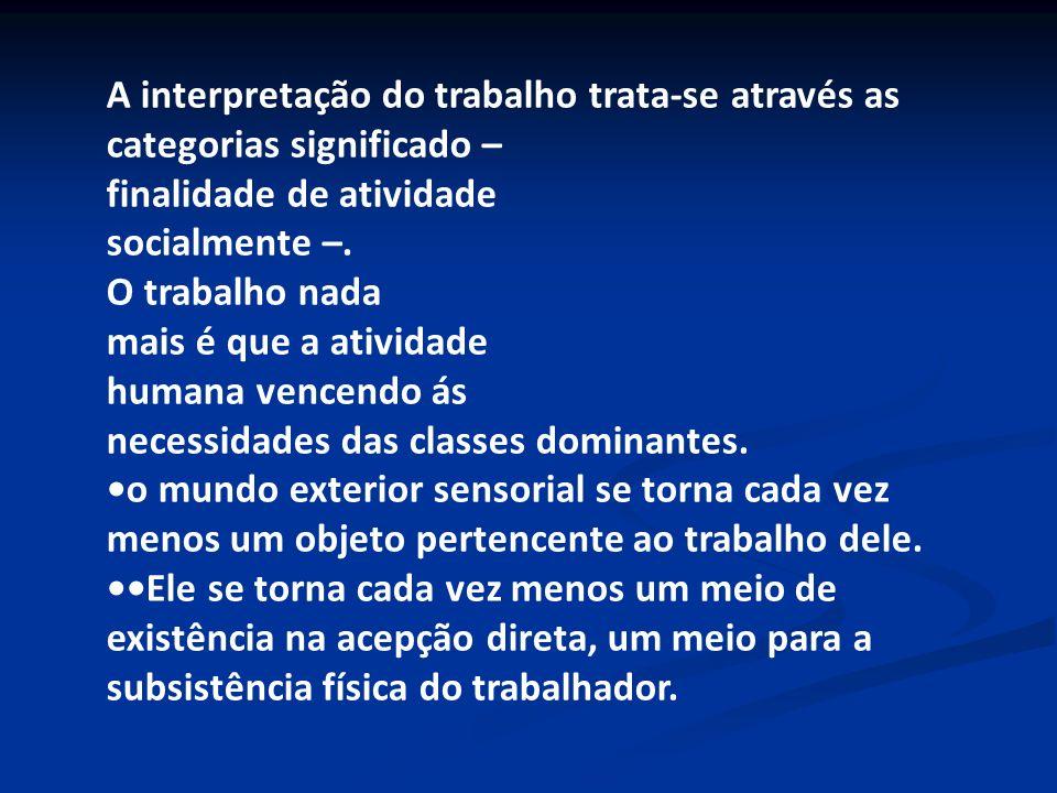 A interpretação do trabalho trata-se através as categorias significado – finalidade de atividade socialmente –. O trabalho nada mais é que a atividade