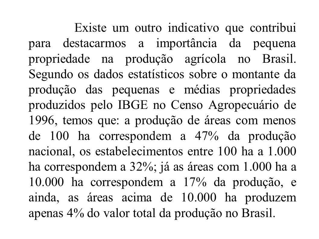 Existe um outro indicativo que contribui para destacarmos a importância da pequena propriedade na produção agrícola no Brasil. Segundo os dados estatí