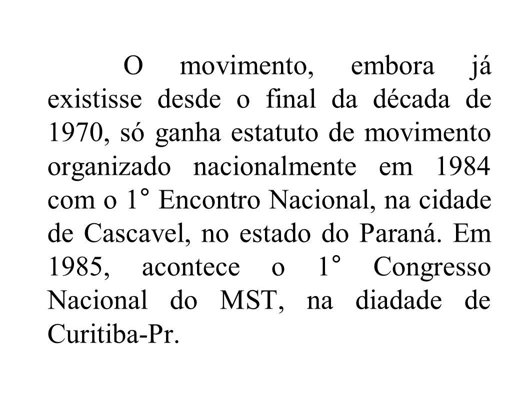 O movimento, embora já existisse desde o final da década de 1970, só ganha estatuto de movimento organizado nacionalmente em 1984 com o 1° Encontro Na