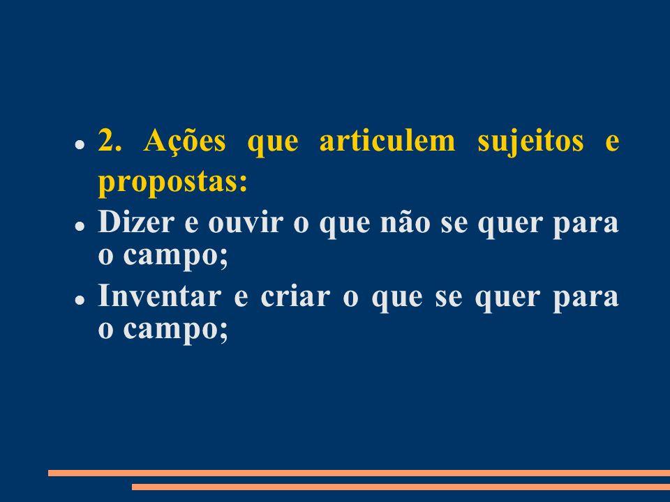 2. Ações que articulem sujeitos e propostas: Dizer e ouvir o que não se quer para o campo; Inventar e criar o que se quer para o campo;