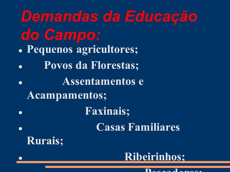 Demandas da Educação do Campo: Pequenos agricultores; Povos da Florestas; Assentamentos e Acampamentos; Faxinais; Casas Familiares Rurais; Ribeirinhos; Pescadores;