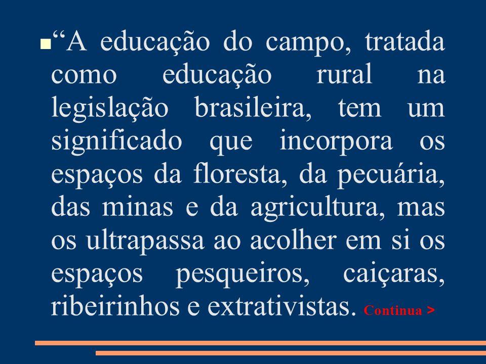 A educação do campo, tratada como educação rural na legislação brasileira, tem um significado que incorpora os espaços da floresta, da pecuária, das minas e da agricultura, mas os ultrapassa ao acolher em si os espaços pesqueiros, caiçaras, ribeirinhos e extrativistas.