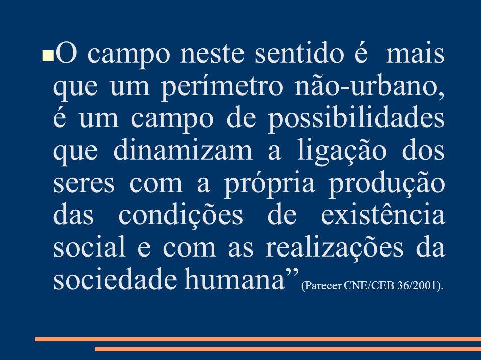 O campo neste sentido é mais que um perímetro não-urbano, é um campo de possibilidades que dinamizam a ligação dos seres com a própria produção das condições de existência social e com as realizações da sociedade humana (Parecer CNE/CEB 36/2001).