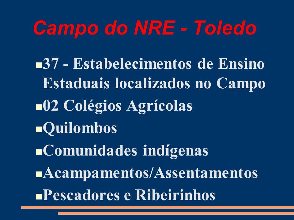Campo do NRE - Toledo 37 - Estabelecimentos de Ensino Estaduais localizados no Campo 02 Colégios Agrícolas Quilombos Comunidades indígenas Acampamentos/Assentamentos Pescadores e Ribeirinhos