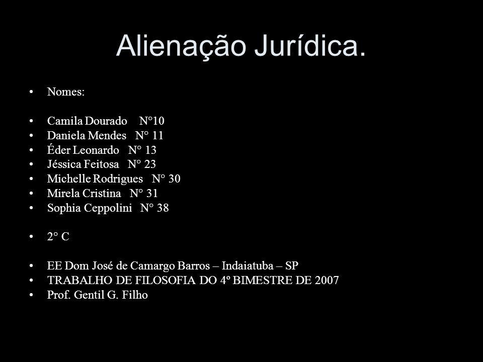 Alienação Jurídica. Nomes: Camila Dourado N°10 Daniela Mendes N° 11 Éder Leonardo N° 13 Jéssica Feitosa N° 23 Michelle Rodrigues N° 30 Mirela Cristina