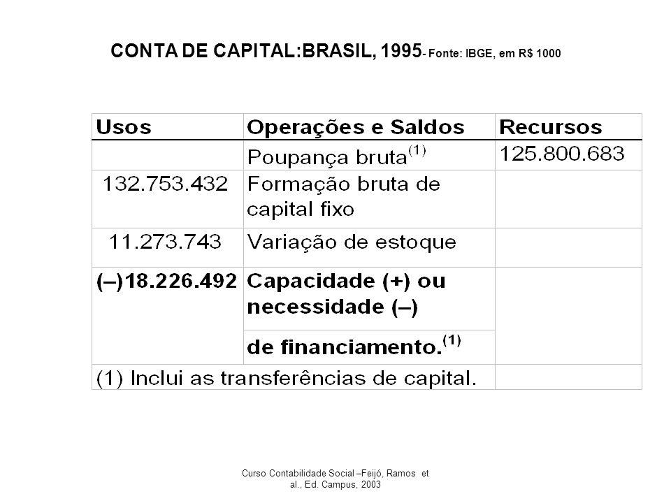 Curso Contabilidade Social –Feijó, Ramos et al., Ed. Campus, 2003 CONTA DE CAPITAL:BRASIL, 1995 - Fonte: IBGE, em R$ 1000