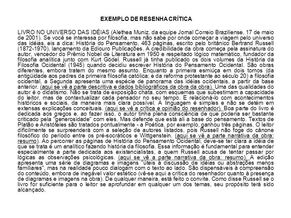 EXEMPLO DE RESENHA CRÍTICA LIVRO NO UNIVERSO DAS IDÉIAS (Alethea Muniz, da equipe Jornal Correio Braziliense, 17 de maio de 2001). Se você se interess