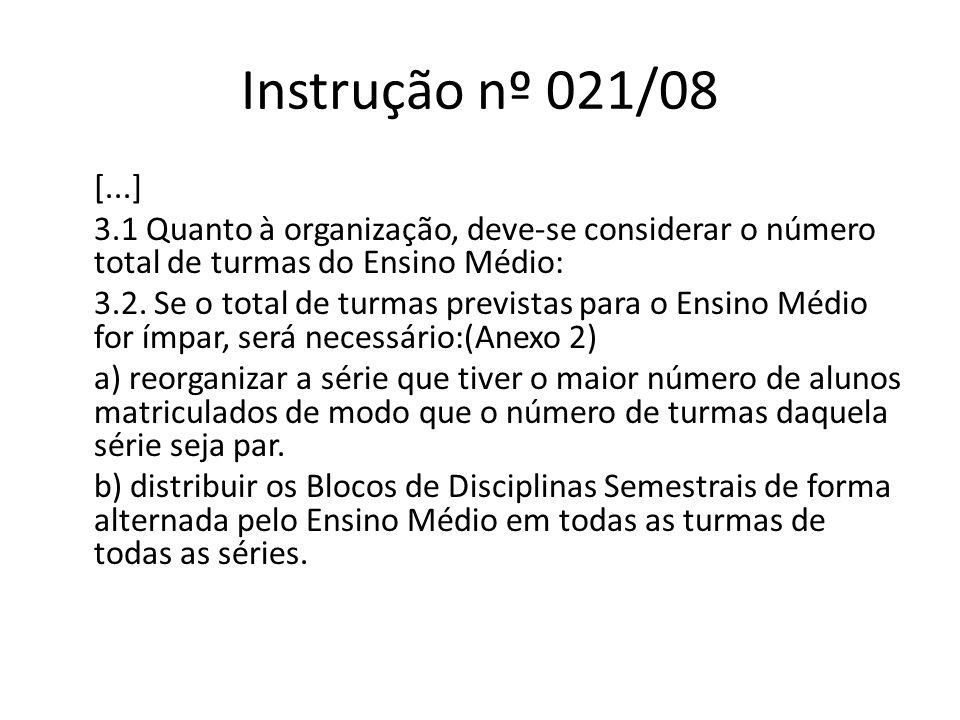 Instrução nº 021/08 [...] 3.1 Quanto à organização, deve-se considerar o número total de turmas do Ensino Médio: 3.2. Se o total de turmas previstas p