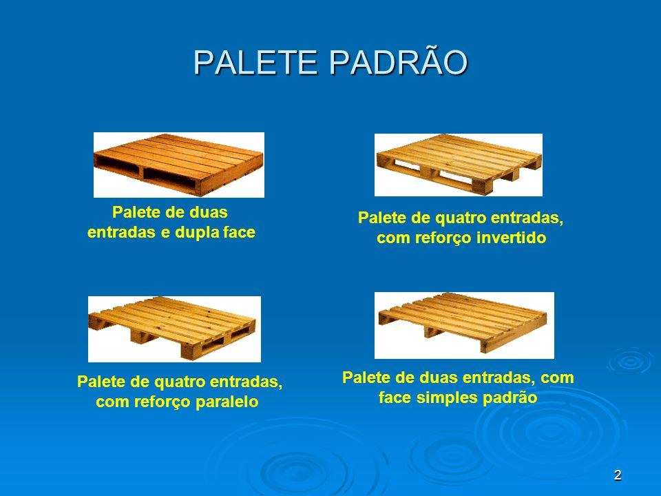 2 Palete de duas entradas e dupla face Palete de quatro entradas, com reforço invertido Palete de quatro entradas, com reforço paralelo Palete de duas entradas, com face simples padrão PALETE PADRÃO