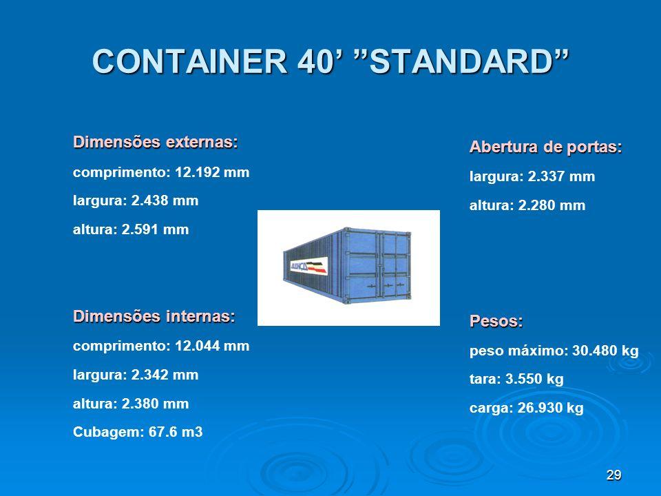 28 CONTAINER 20 STANDARD Abertura de portas: largura: 2.346 mm altura: 2.282 mm / 2.280 mmPesos: peso máximo: 24.000 kg tara: 2.080 kg carga: 21.920 k