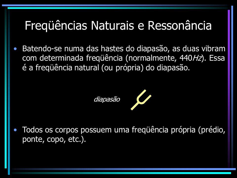 Freqüências Naturais e Ressonância Batendo-se numa das hastes do diapasão, as duas vibram com determinada freqüência (normalmente, 440Hz). Essa é a fr