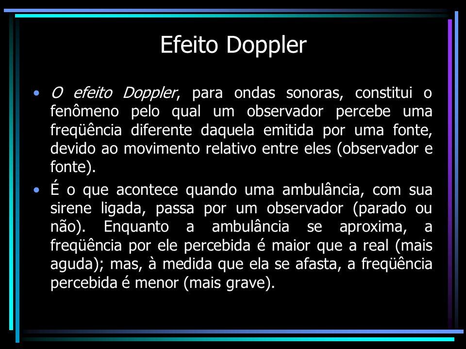 Efeito Doppler O efeito Doppler, para ondas sonoras, constitui o fenômeno pelo qual um observador percebe uma freqüência diferente daquela emitida por
