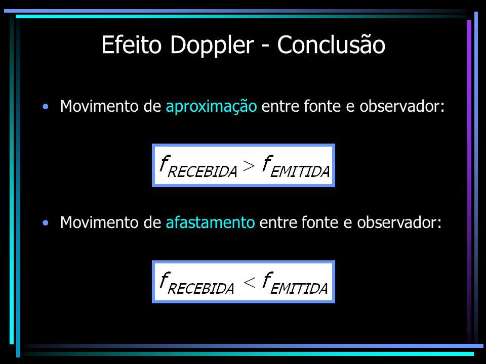 Efeito Doppler - Conclusão Movimento de aproximação entre fonte e observador: Movimento de afastamento entre fonte e observador: