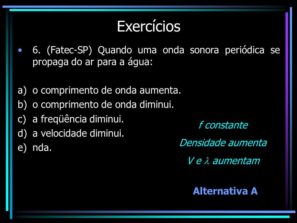 Exercícios 6. (Fatec-SP) Quando uma onda sonora periódica se propaga do ar para a água: a)o comprimento de onda aumenta. b)o comprimento de onda dimin