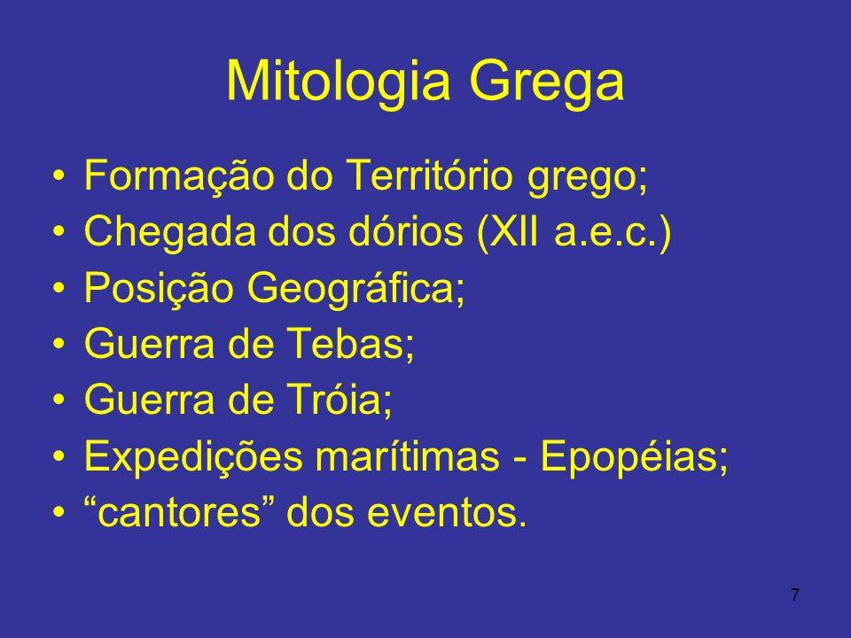 7 Mitologia Grega Formação do Território grego; Chegada dos dórios (XII a.e.c.) Posição Geográfica; Guerra de Tebas; Guerra de Tróia; Expedições marít