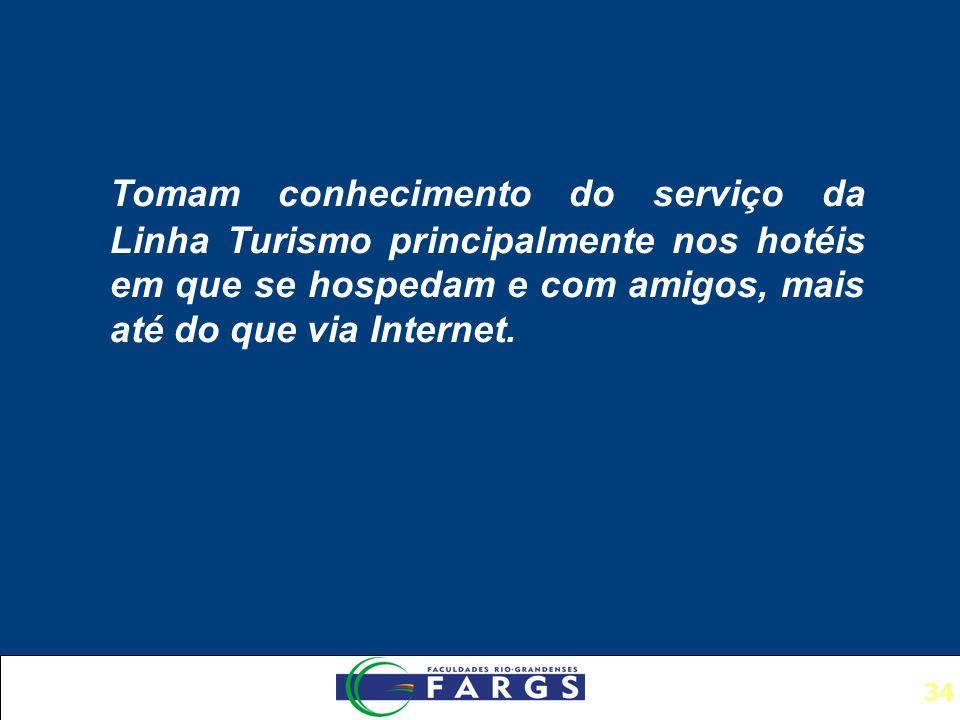 34 Tomam conhecimento do serviço da Linha Turismo principalmente nos hotéis em que se hospedam e com amigos, mais até do que via Internet.
