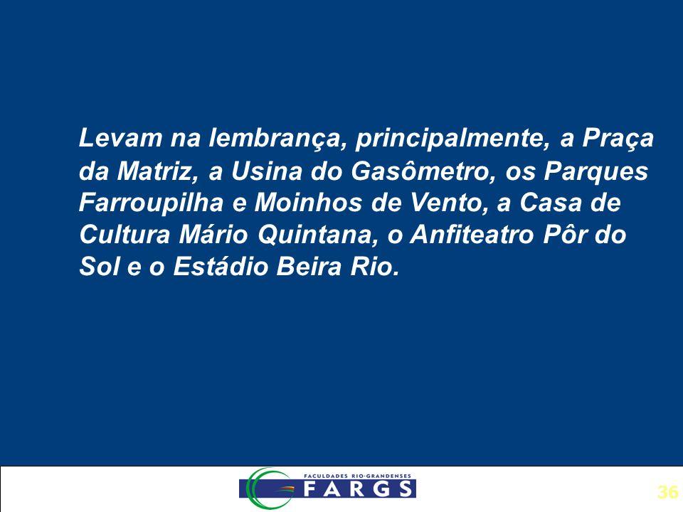 36 Levam na lembrança, principalmente, a Praça da Matriz, a Usina do Gasômetro, os Parques Farroupilha e Moinhos de Vento, a Casa de Cultura Mário Quintana, o Anfiteatro Pôr do Sol e o Estádio Beira Rio.