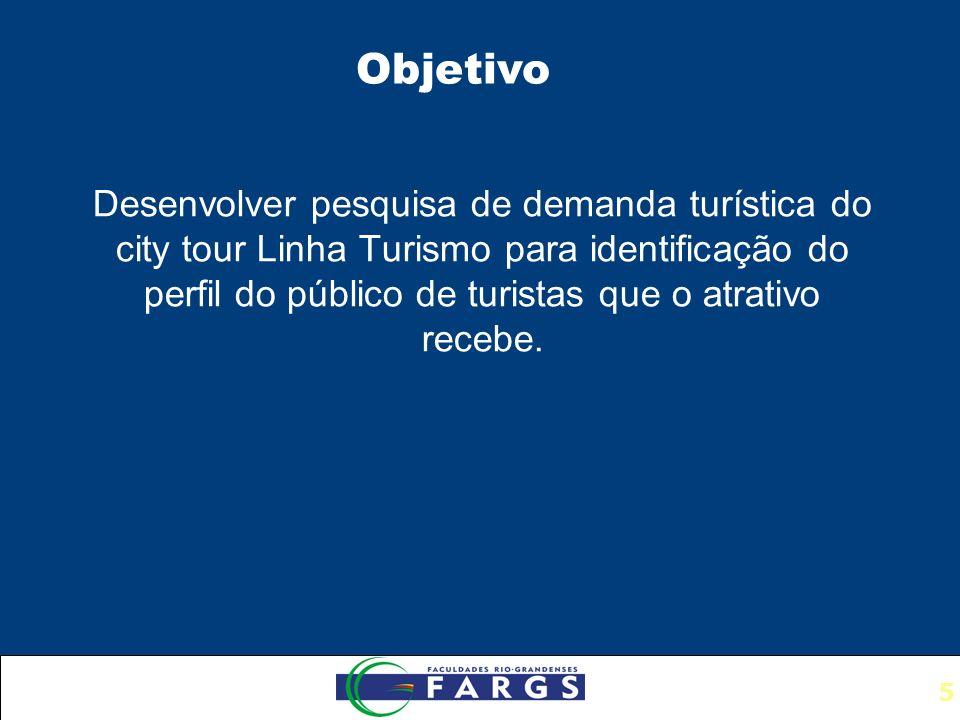 5 Desenvolver pesquisa de demanda turística do city tour Linha Turismo para identificação do perfil do público de turistas que o atrativo recebe.