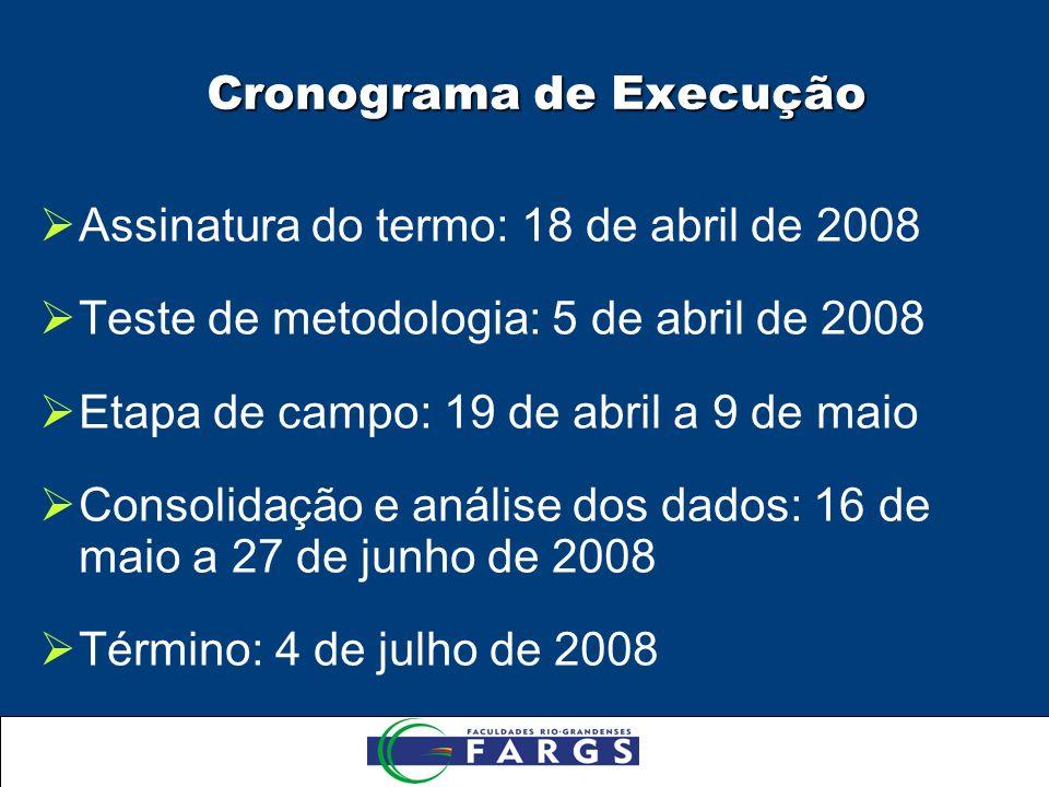 Cronograma de Execução Assinatura do termo: 18 de abril de 2008 Teste de metodologia: 5 de abril de 2008 Etapa de campo: 19 de abril a 9 de maio Consolidação e análise dos dados: 16 de maio a 27 de junho de 2008 Término: 4 de julho de 2008