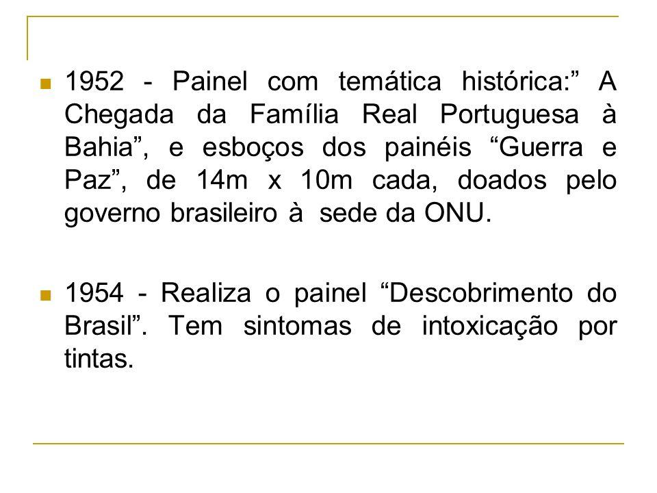 1952 - Painel com temática histórica: A Chegada da Família Real Portuguesa à Bahia, e esboços dos painéis Guerra e Paz, de 14m x 10m cada, doados pelo