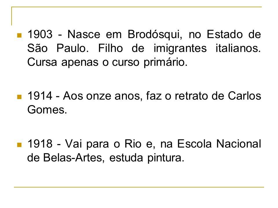 1903 - Nasce em Brodósqui, no Estado de São Paulo. Filho de imigrantes italianos. Cursa apenas o curso primário. 1914 - Aos onze anos, faz o retrato d