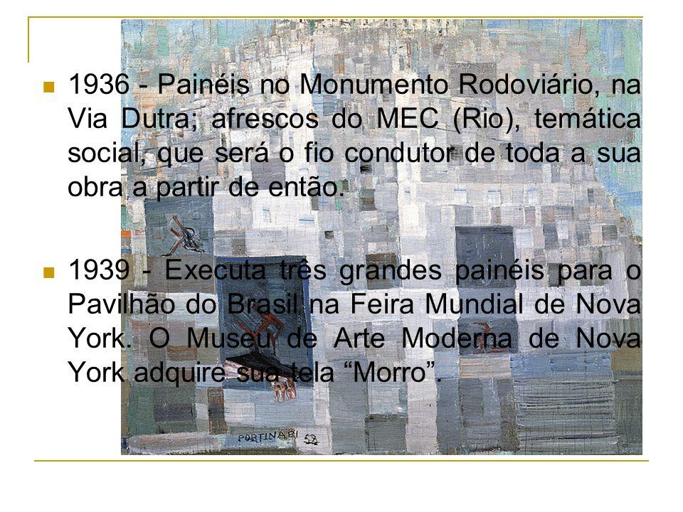 1936 - Painéis no Monumento Rodoviário, na Via Dutra; afrescos do MEC (Rio), temática social, que será o fio condutor de toda a sua obra a partir de e