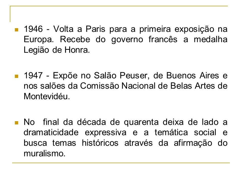 1948 - Portinari se auto-exila no Uruguai, por motivos políticos, onde pinta o painel A Primeira Missa no Brasil.