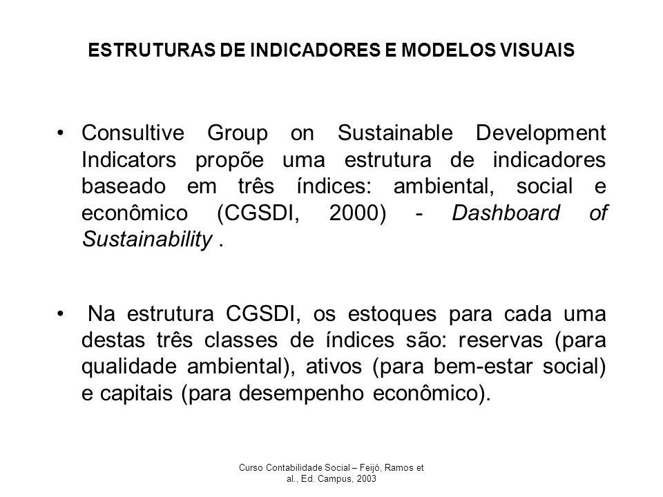 Curso Contabilidade Social – Feijó, Ramos et al., Ed. Campus, 2003 ESTRUTURAS DE INDICADORES E MODELOS VISUAIS Consultive Group on Sustainable Develop
