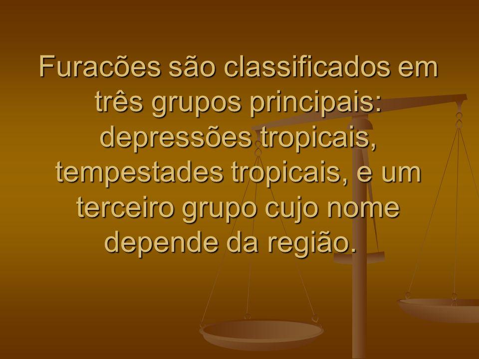 Furacões são classificados em três grupos principais: depressões tropicais, tempestades tropicais, e um terceiro grupo cujo nome depende da região. Fu