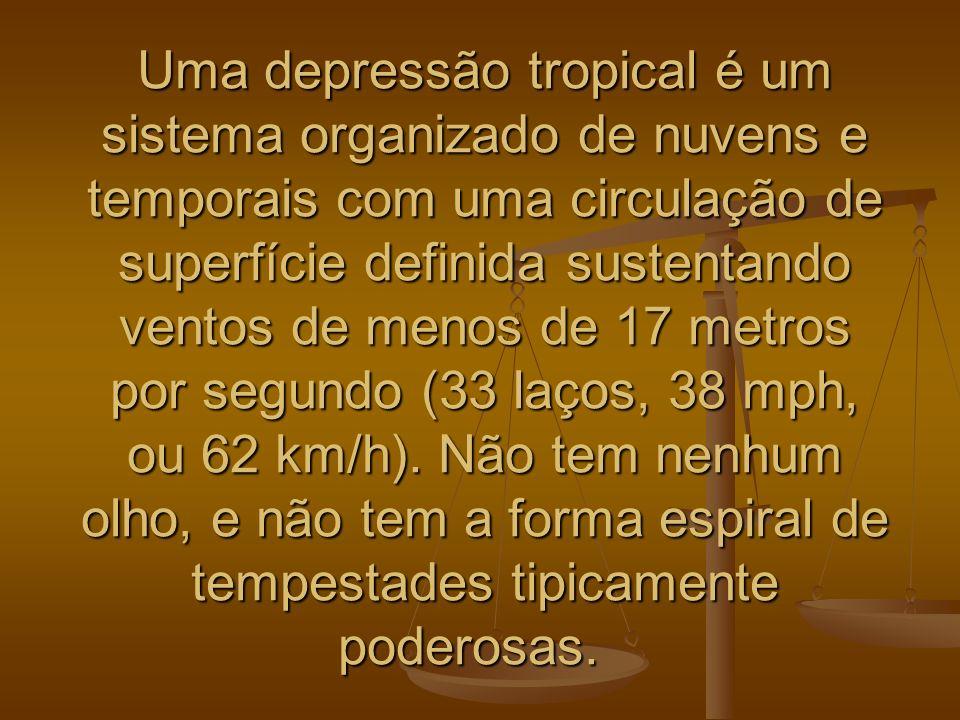 Uma depressão tropical é um sistema organizado de nuvens e temporais com uma circulação de superfície definida sustentando ventos de menos de 17 metro