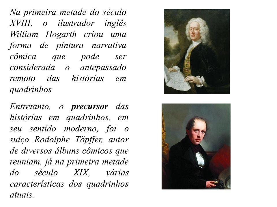 Na primeira metade do século XVIII, o ilustrador inglês William Hogarth criou uma forma de pintura narrativa cômica que pode ser considerada o antepas