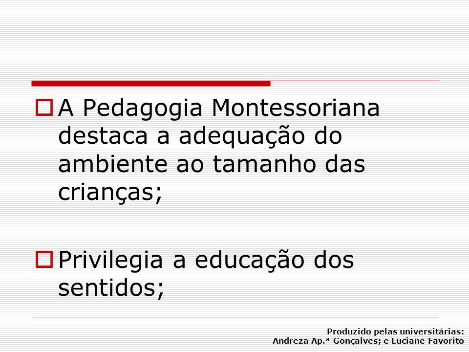 A Pedagogia Montessoriana destaca a adequação do ambiente ao tamanho das crianças; Privilegia a educação dos sentidos; Produzido pelas universitárias: