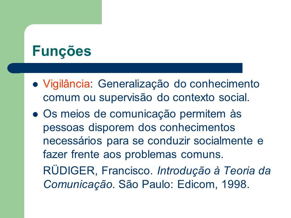 Funções Vigilância: Generalização do conhecimento comum ou supervisão do contexto social. Os meios de comunicação permitem às pessoas disporem dos con