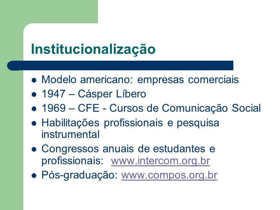 Institucionalização Modelo americano: empresas comerciais 1947 – Cásper Líbero 1969 – CFE - Cursos de Comunicação Social Habilitações profissionais e