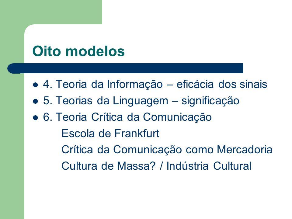 Oito modelos 4. Teoria da Informação – eficácia dos sinais 5. Teorias da Linguagem – significação 6. Teoria Crítica da Comunicação Escola de Frankfurt