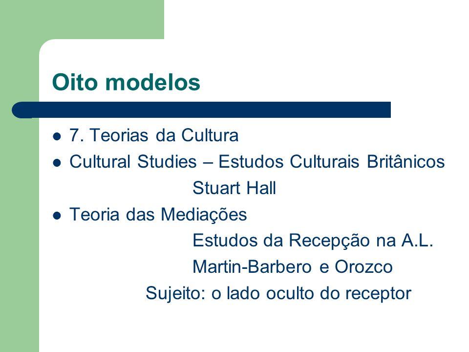 Oito modelos 7. Teorias da Cultura Cultural Studies – Estudos Culturais Britânicos Stuart Hall Teoria das Mediações Estudos da Recepção na A.L. Martin