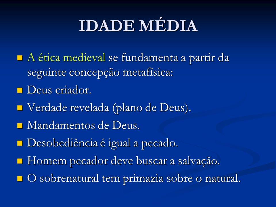IDADE MÉDIA A ética medieval se fundamenta a partir da seguinte concepção metafísica: A ética medieval se fundamenta a partir da seguinte concepção me