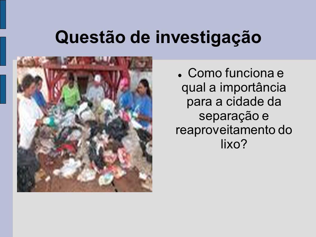 Como funciona e qual a importância para a cidade da separação e reaproveitamento do lixo? Questão de investigação